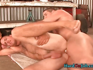 Hunky stud gets his hard fat cock sucked