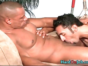 Guy sucks other guys ass hole gay porn Brandon Moore braces his left gam