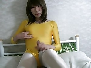yellow leotard in jerkoff