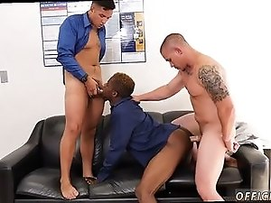 Horny black dude gets drilled by two white hunks
