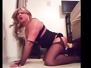 Cock hungry sissy playing with her dildo