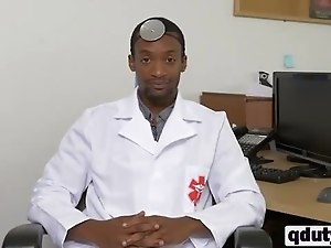 Horny black doctor talkes submissive white guy into hard anal sex